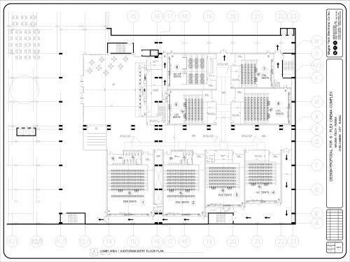 Готовый план зонирования 8-и зального кинотеатра